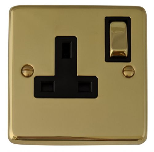 G&H CB309 Standard Plate Polished Brass 1 Gang Single 13A Switched Plug Socket